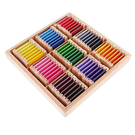 MagiDeal Montessori Juego Educativo Sensorial Material Ejercicio de Color Caja de Madera Regalo para Niños Bebés