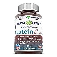 Amazing Nutrition Amazing Formulas Lutein 20 mg with Zeaxanthin 800 mcg- 240 Softgels...