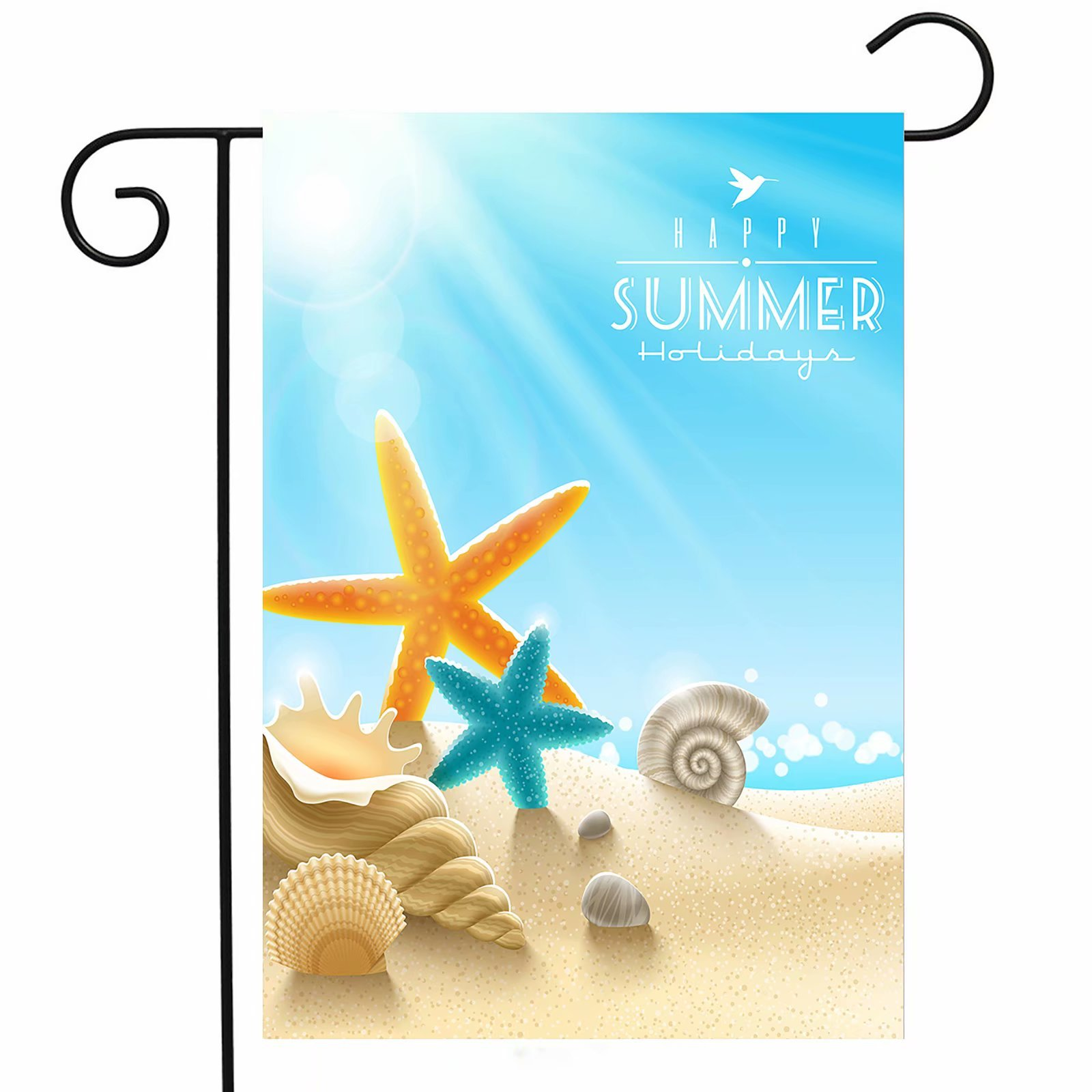 ShineSnow Summer Beach Underwater Starfish Seashell Garden Yard Flag 12''x 18'' Double Sided, Shell Scallop Snail Sand Sunlight Polyester Welcome House Flag Banners for Patio Lawn Outdoor Home Decor by ShineSnow