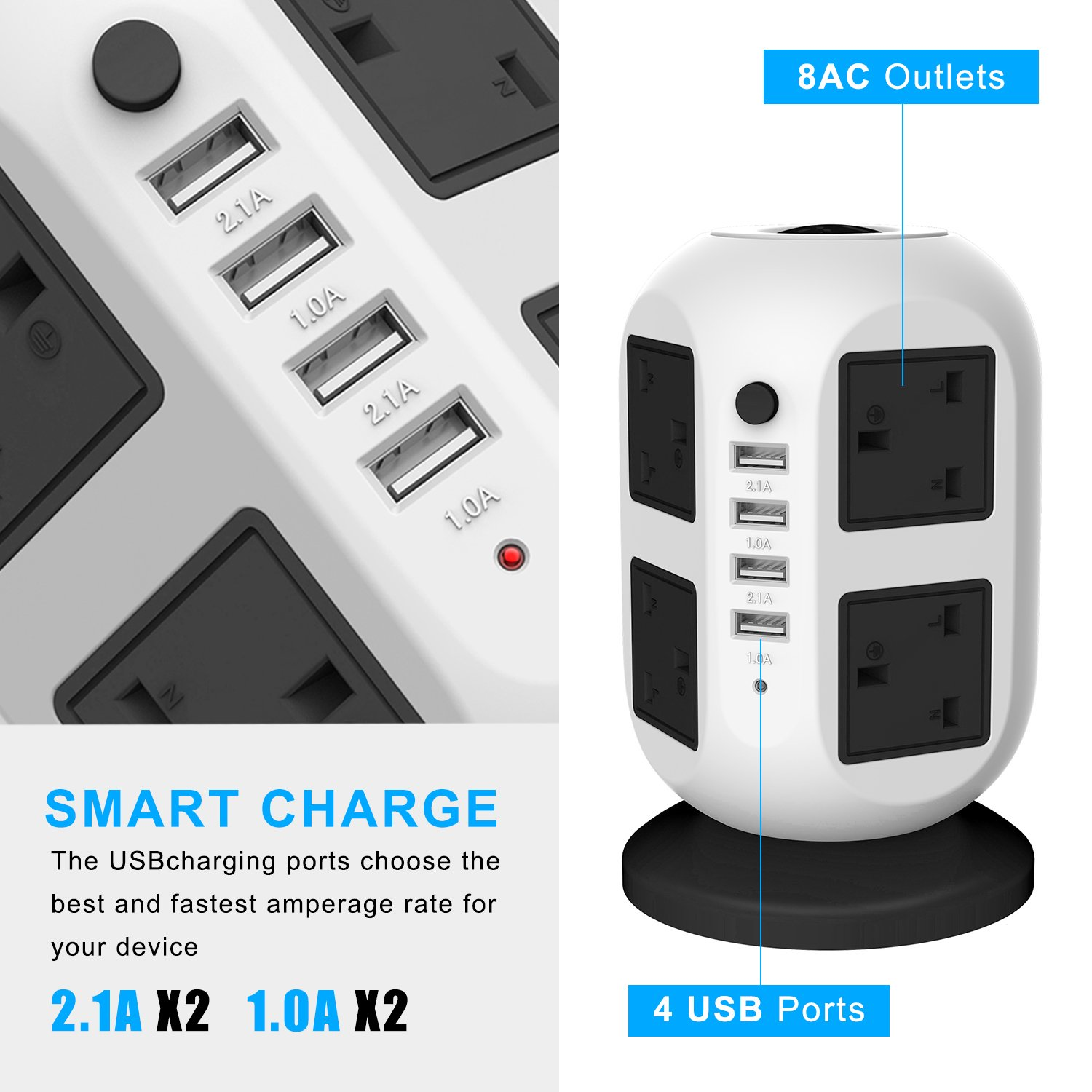Vertical Power Strip, Extenstion Lead, Tower Power Strip with 3M Extension Lead with 4 USB Power Strip and 8 way outlets, Multi-faceted Safety Sockets for Home and Office(Black)