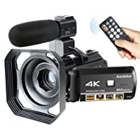 Camcorder 4K Wifi Ansteker Ultra-HD Digital Camera Video 1080P 13MP 30FPS IR Night Vision Camcorder with Microphone and Lens hood
