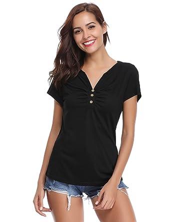 2ee3c4953f4 Tee Shirt Femme Col V Manches Courtes Haut Femme Décolleté Été Sport Top  Chic T Shirt