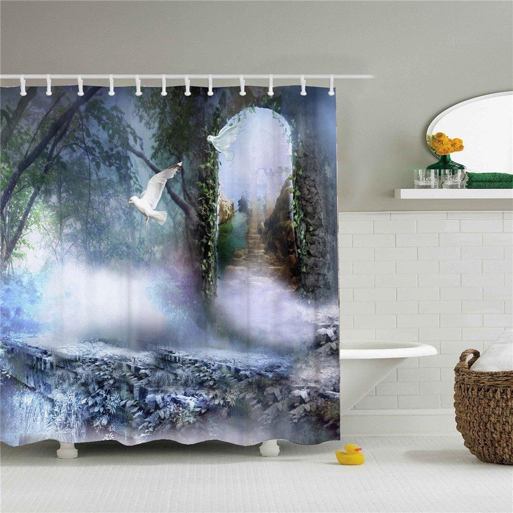 Peageon White Shower Curtain Set Waterproof 69''x84''