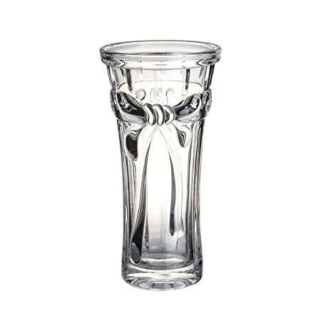 Modern Crystal Glass Decorative Flower Vase 25cm Tall Bowknot