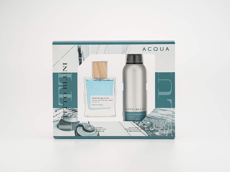 Titto Bluni - Acqua Estuche de Regalo para Hombre, Eau de Toilette 75 ml y Desodorante en Spray 200 ml