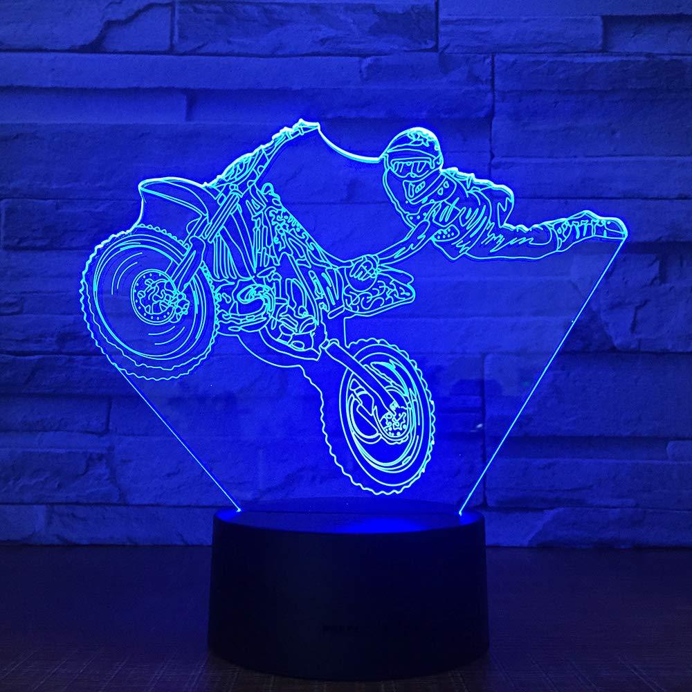 Bbdeng 3D-Nachtlicht Energie Sparen LED-Touch-Farbe Beleuchtung Kreative Kinder Schlafen Tischlampe USB Oder Batterie Akrobatisches Motorrad Conventional