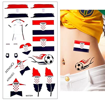 10 Sheets Croatia National Country Temporary Body Tattoo Sticker 2018 Football Games