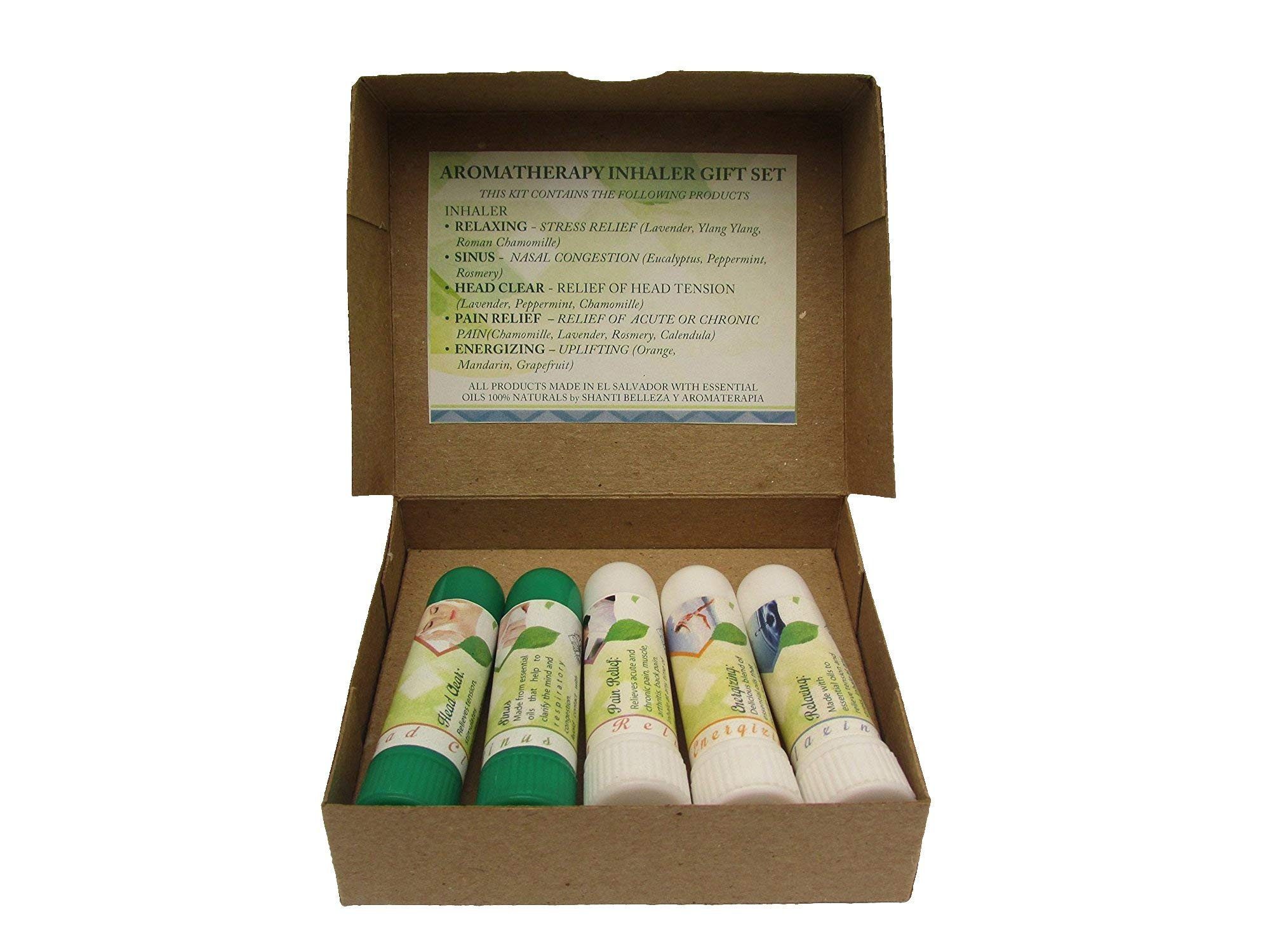 5 Essential oils inhaler gift set (Relaxing, Sinus, Energizing, Head clear, Pain relief).