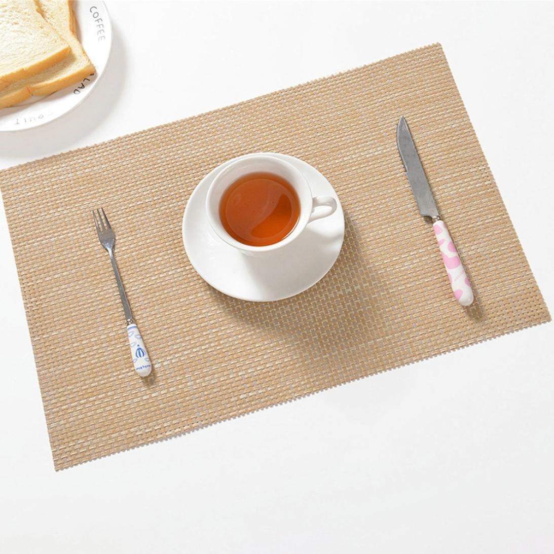 YJYdada Mat,Non-slip Heat Desktop Decoration Modern Waterproof Western Food Mat (Beige)