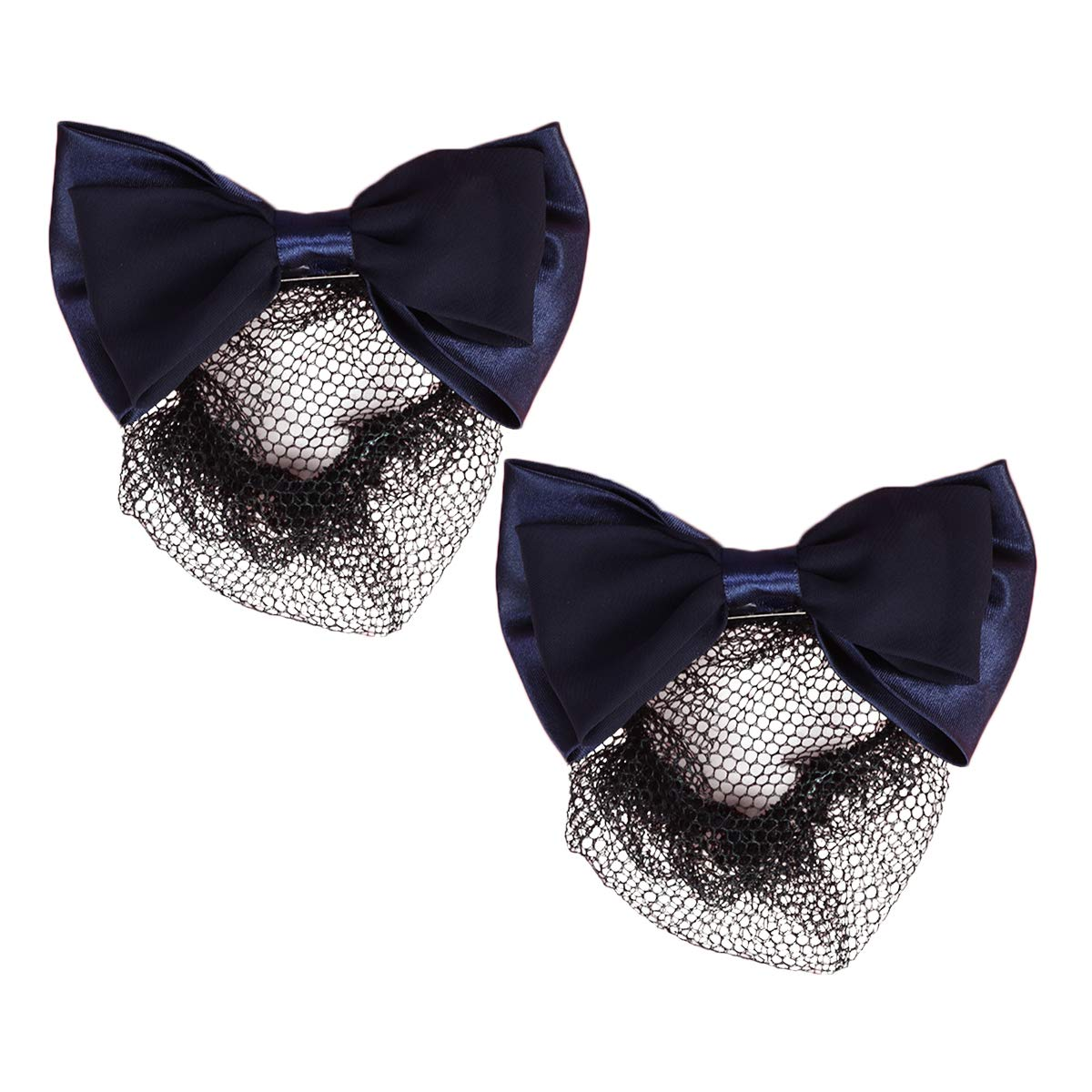 Frcolor Hair Snood Net Barrette Mesh Clip Elastic Butterfly Bun Bow for Lady Dance Office 2pcs (Black)