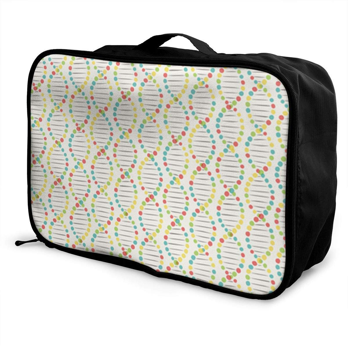 Portable Luggage Duffel Bag Color DNA Stripe Travel Bags Carry-on In Trolley Handle