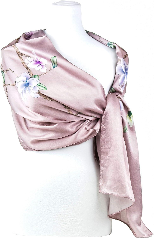 Include Scatola Regalo FLOWER Sciarpa in Seta Moda Morbido Confortevole Scialle per Collo Foulard in Seta per Donne