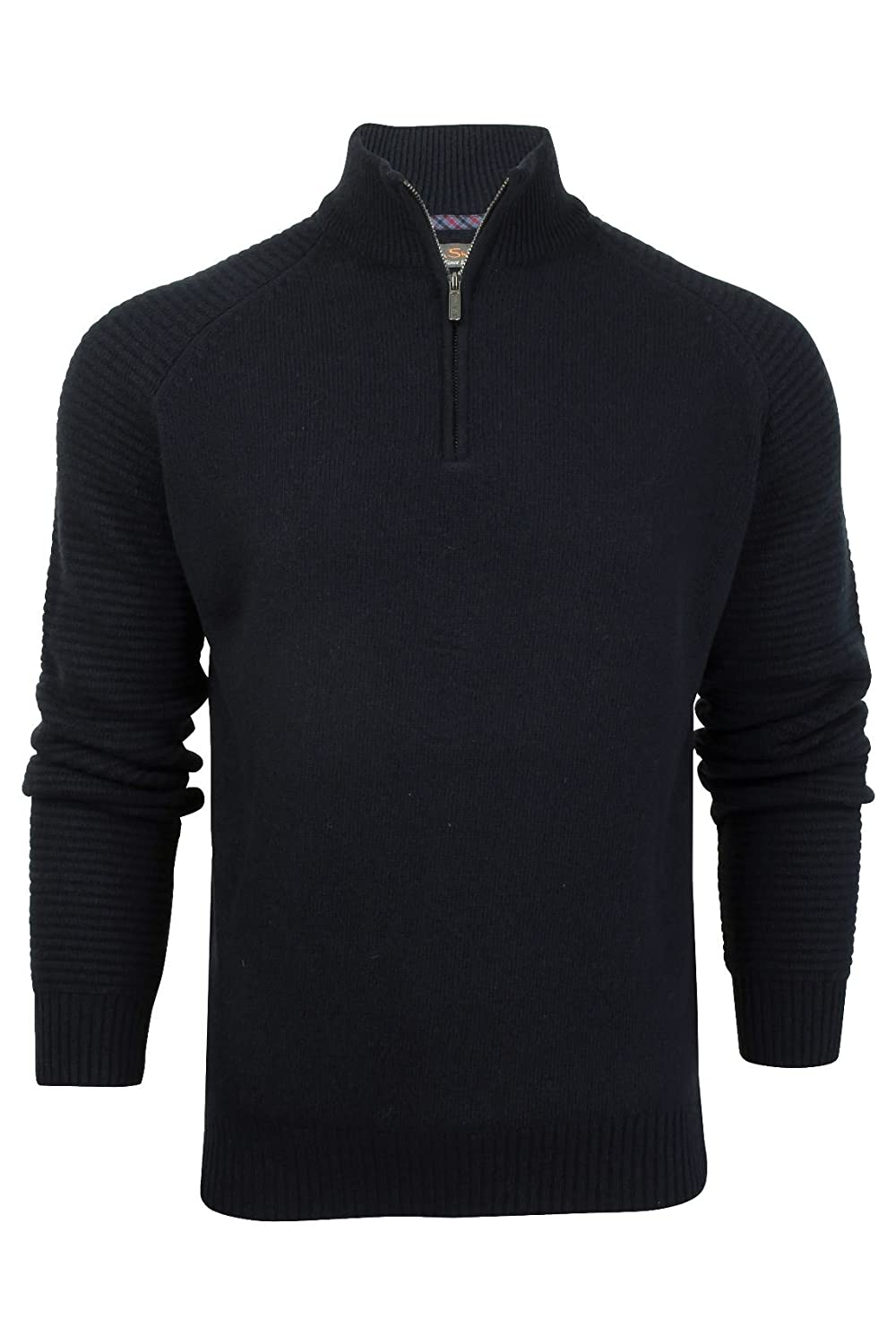 Ben Sherman Mens Quarter Zip Funnel Neck Textured Knit in Navy- Funnel Neck- Zip