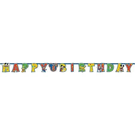 Amscan Mickey - Guirnalda de Feliz Cumpleaños: Amazon.es: Hogar