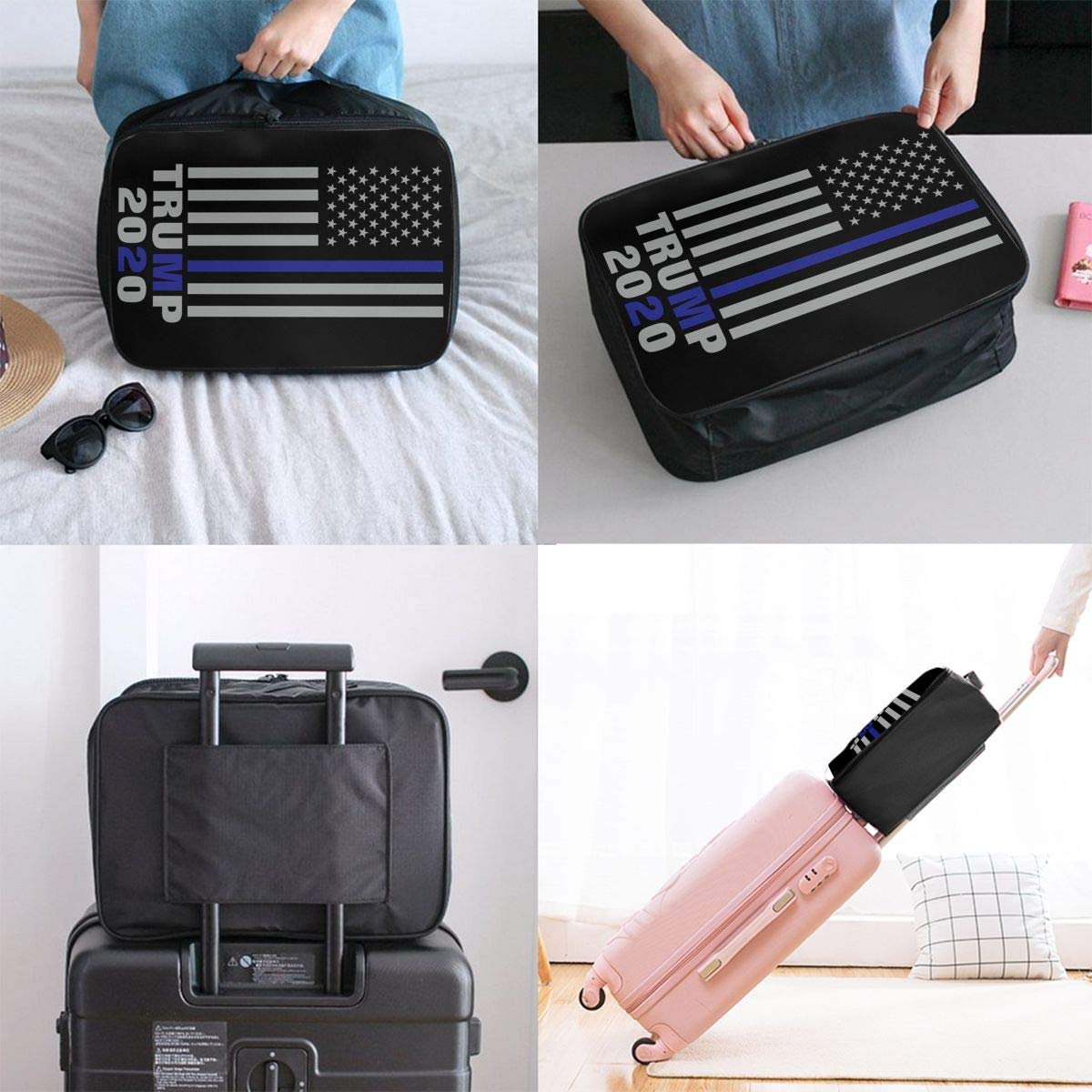 2020 Thin Blue Line Trump Lightweight Large Capacity Portable Luggage Bag Travel Duffel Bag Storage Carry Luggage Duffle Tote Bag