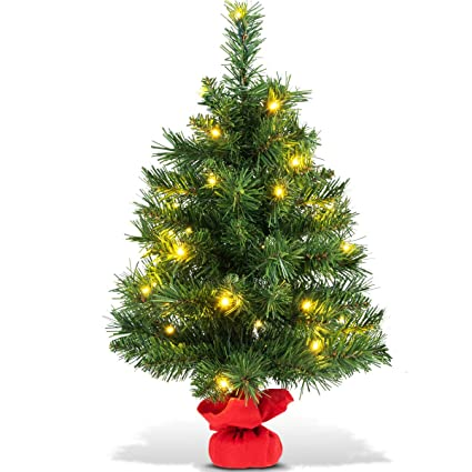 goplus 2ft artificial christmas tree spruce fir tree tabletop decorations full tree with 35 warm white - Battery Operated Christmas Trees