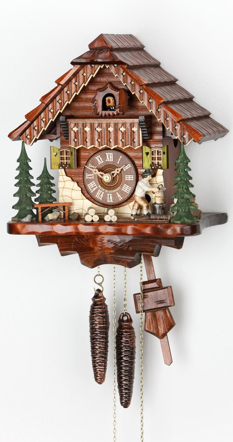 Cuckoo Clock Black Forest house with moving wood chopper KA 1679 by ISDD Cuckoo Clocks