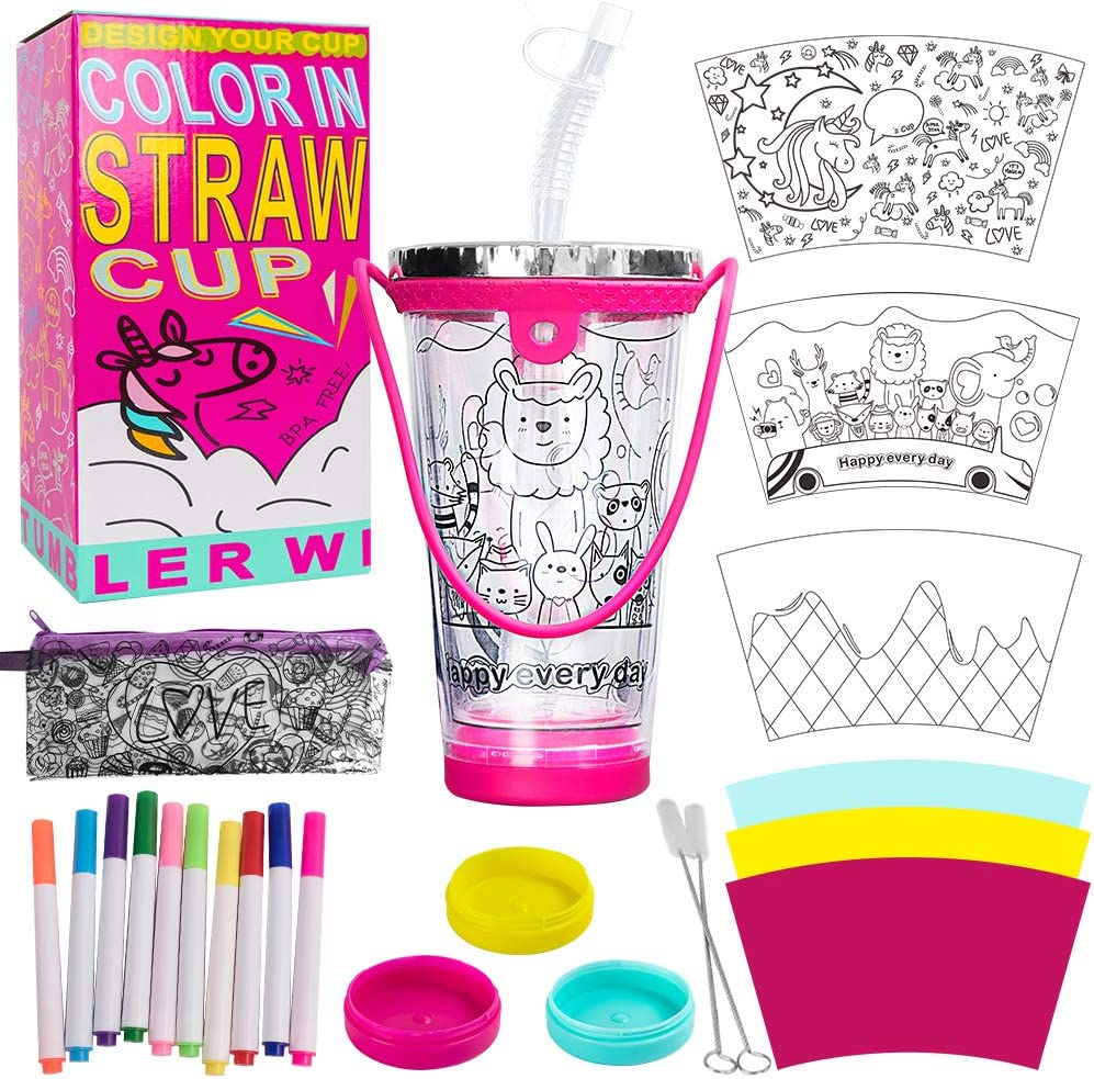 N&T NIETING DIY Tumbler for Girls with Color in Designs, Children Reusable Cups with Lids and Straws 70% OFF £4.50 with single use codes @ Amazon
