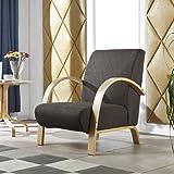 i-flair - Polstersessel, Lounge Sessel mit Hochwertigem Gepolsterten Stoffbezug - Dunkelbraun