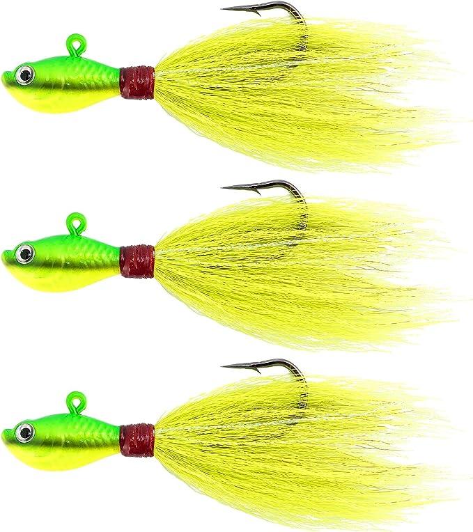 1//2 Oz  Bucktail Jig Flounder Fluke Stripers,Cod Cobia   5 pack Black Craze