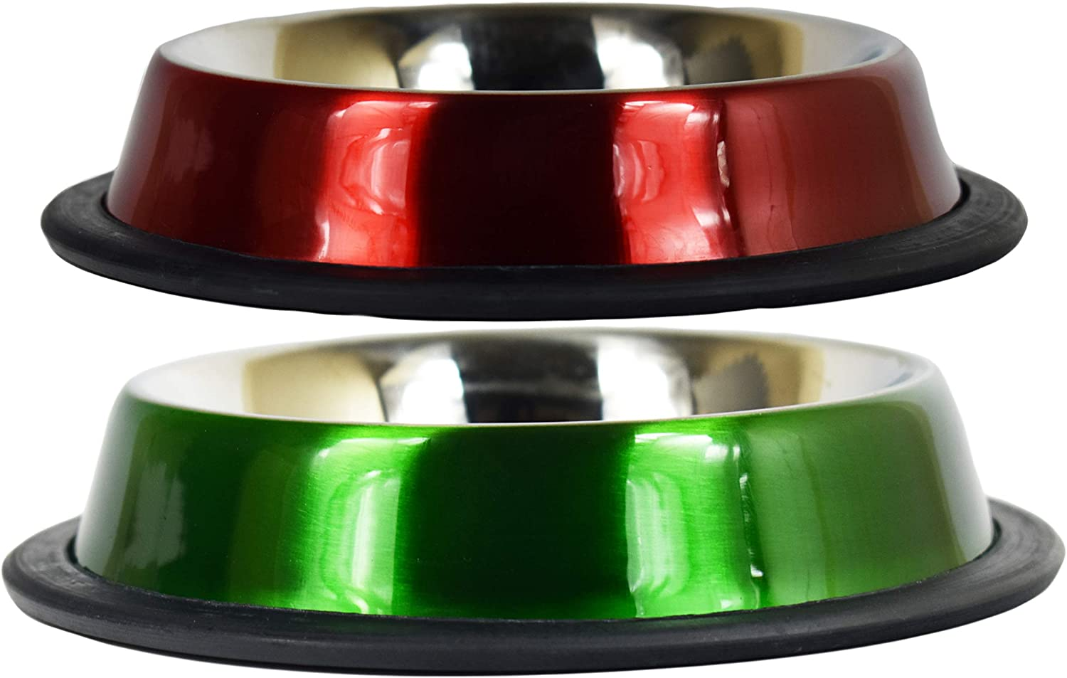 Black Duck Brand Set of Stainless Steal Anti-Skid Pet Bowls! 8oz Pet Bowls Ideal for Home and Travel - 4 Bold Colors!
