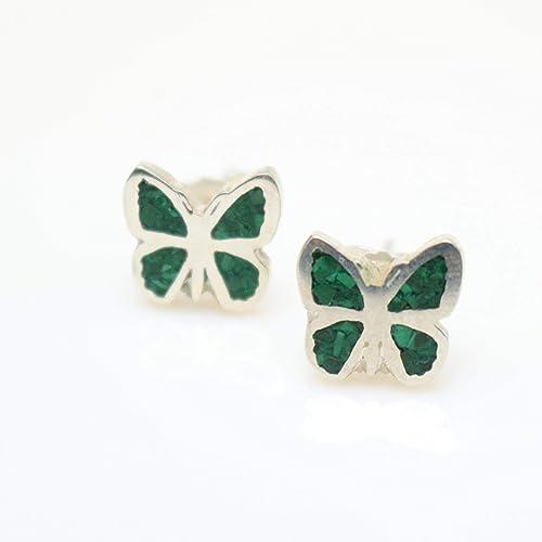 Malachite Gemstone Silver Earrings