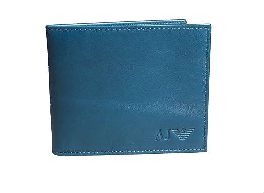 più foto ee99b c2f87 Portafoglio uomo ARMANI JEANS vera pelle men's wallet Genuine Leather  (AZZURRO 2)