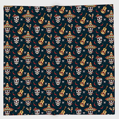 Scrunchie Peppers (iPrint Polyester Bandana Headband Scarves Headwrap,Mexican,Detailed Artistic Floral Sugar Skulls with Sombrero Hats Chili Peppers and Guitars,Multicolor,for Women Men)