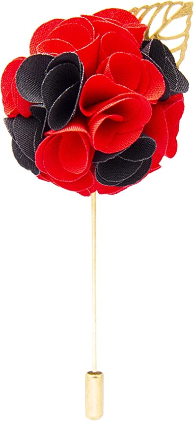 Knighthood Red and Black Bunch Flower with Golden Leaf Lapel Pin Badge Coat Suit Jacket Wedding Gift Party Shirt Collar Accessories Brooch