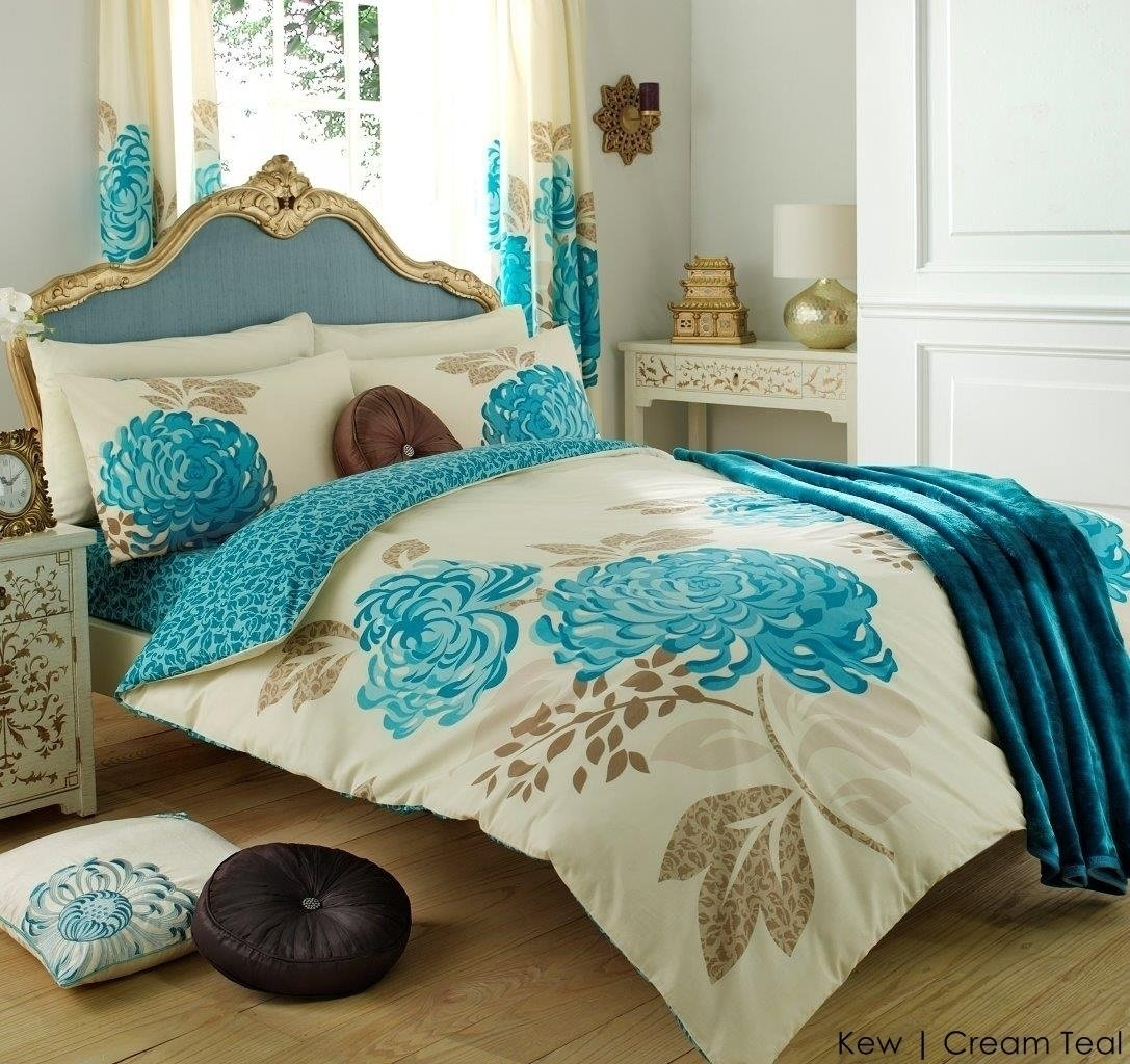 3pc Kew Cream Teal King Size Bedding Bed Duvet Cover Quilt Set With Pillowcases By Hachette Amazon Co Uk Kitchen Home