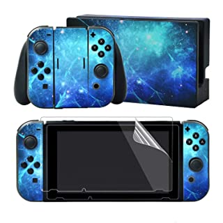 eXtremeRate Full Set Faceplate Skin Decal Stickers for Nintendo Switch/NS with 2Pcs Screen Protector (Console & Joy-con & Dock & Grip) (Blue Galaxy)