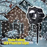 Snowflake Projector LED Light, Elfeland Remote Dynamic Snow Effect Decorative Spotlight for Outdoor, Garden Patio, Party, Holiday Landscape Lighting, Halloween and Christmas IP44 Waterproof UK plug