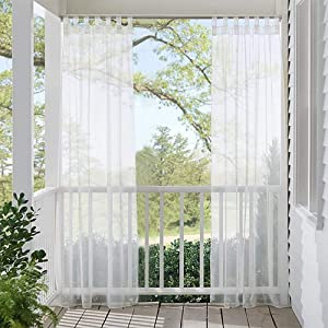 RYB HOME Outdoor Patio Sheer Drape Waterproof Panel, Quick & Easy to Dry Polyester Tab Top Sheer White Outdoor Curtain for Porch / Pergola with 1 Rope Tieback, 1 Panel, 54 x 108 inches