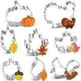8PCS Large Fall Thanksgiving Cookie Cutter Set - Turkey, Pumpkin, Maple/Oak/Teardrop Leaf, Squirrel and Acorn