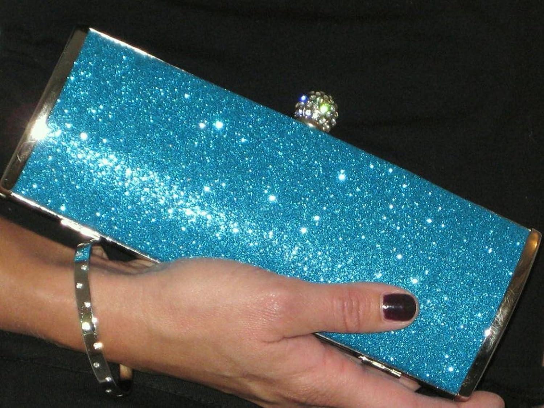 (2314-6) Metallic Glitter Diamante Crown Clutch Tube Bag Evening Turquoise