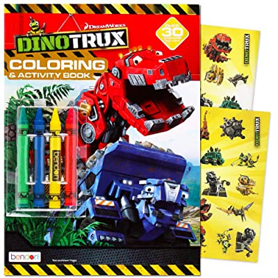 Dinotrux Coloring Book Set with Over 40 Stickers and Jumbo Toddler Crayons: Toys & Games