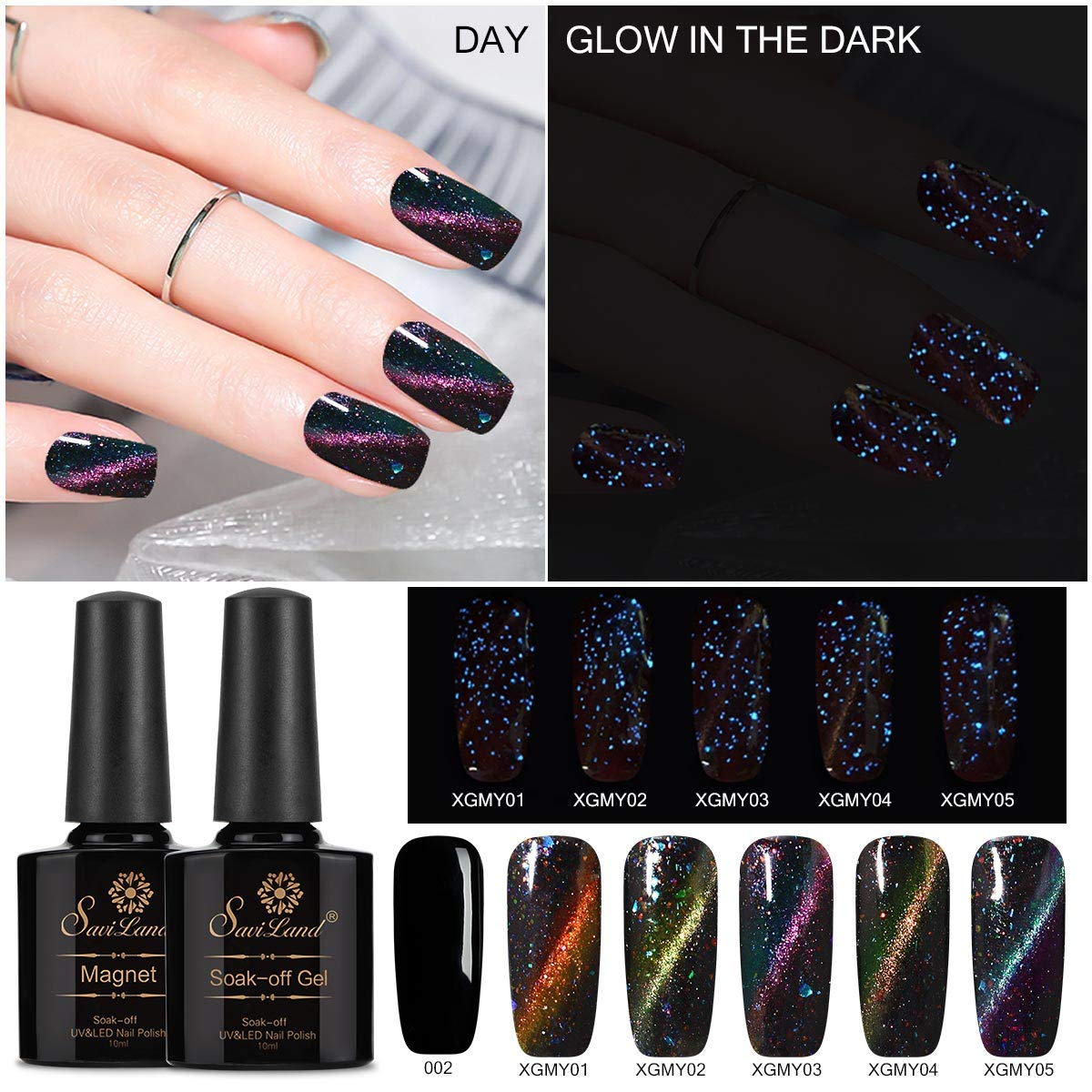 Glow in the Dark Cat Eye Nail Polish, Saviland Luminous Magnetic Gel Nail Varnish UV/Led Nail Art Manicure Kit + Black Colour Gel +Free Magnet Stick
