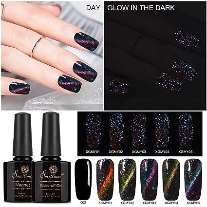Set de esmaltes de uñas magnéticos luminosos Saviland que brilla en la oscuridad ojo de gato ...