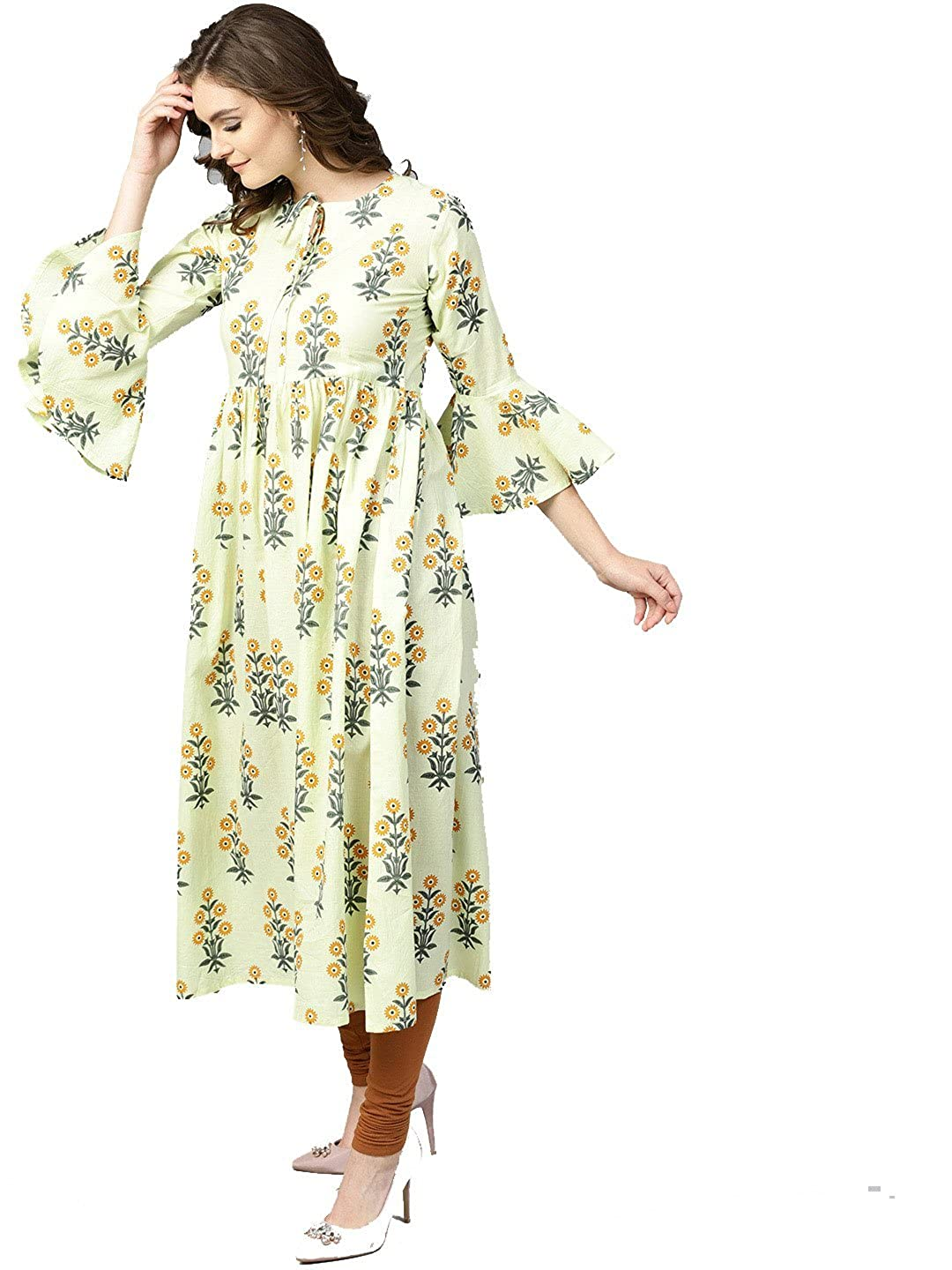 Lemon Paisley Kurta Indian Ethnic Pakistani Kurtis Dress Tunics Cotton Tops Long