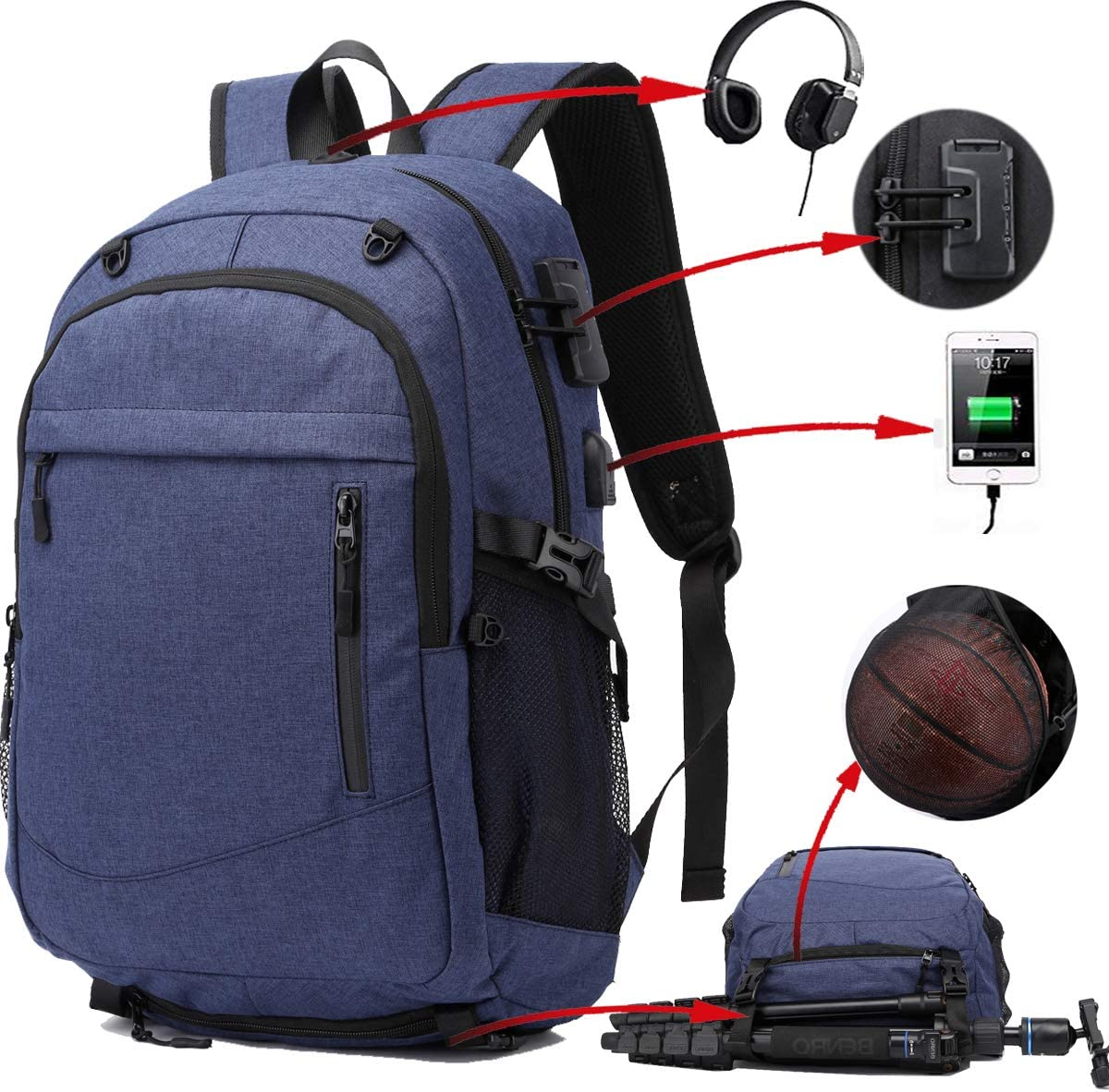 Travel Laptop Backpack, Extra Large Anti Theft Laptop Bag, Basketball Soccer Sports Backpack with USB Charging Port, Water Resistant College Computer Backpack, Fit 17 Inch Laptop