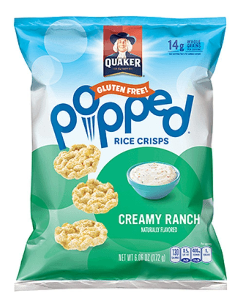 Quaker Popped Rice Crisps Snacks Creamy Ranch 7.04oz Bag (Pack of 4)