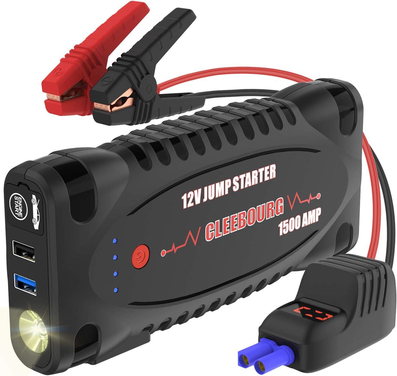 CLEEBOURG - Arrancador de batería portátil para Coche (1500 A, hasta 8,0 L de Gas o 6,5 L de diésel), batería de Emergencia de 12000 mAh con Doble Salida de Carga USB,
