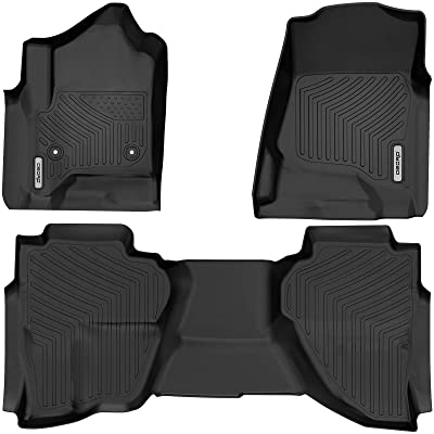 oEdRo Floor Mats for 2014-2020 Chevrolet Silverado/GMC Sierra 1500 Double Cab, 2020 Silverado LD/Sierra Limited; 2015-2020 2500HD/3500HD, All Weather Guard 1st and 2nd Row Custom Fit Liners: Automotive
