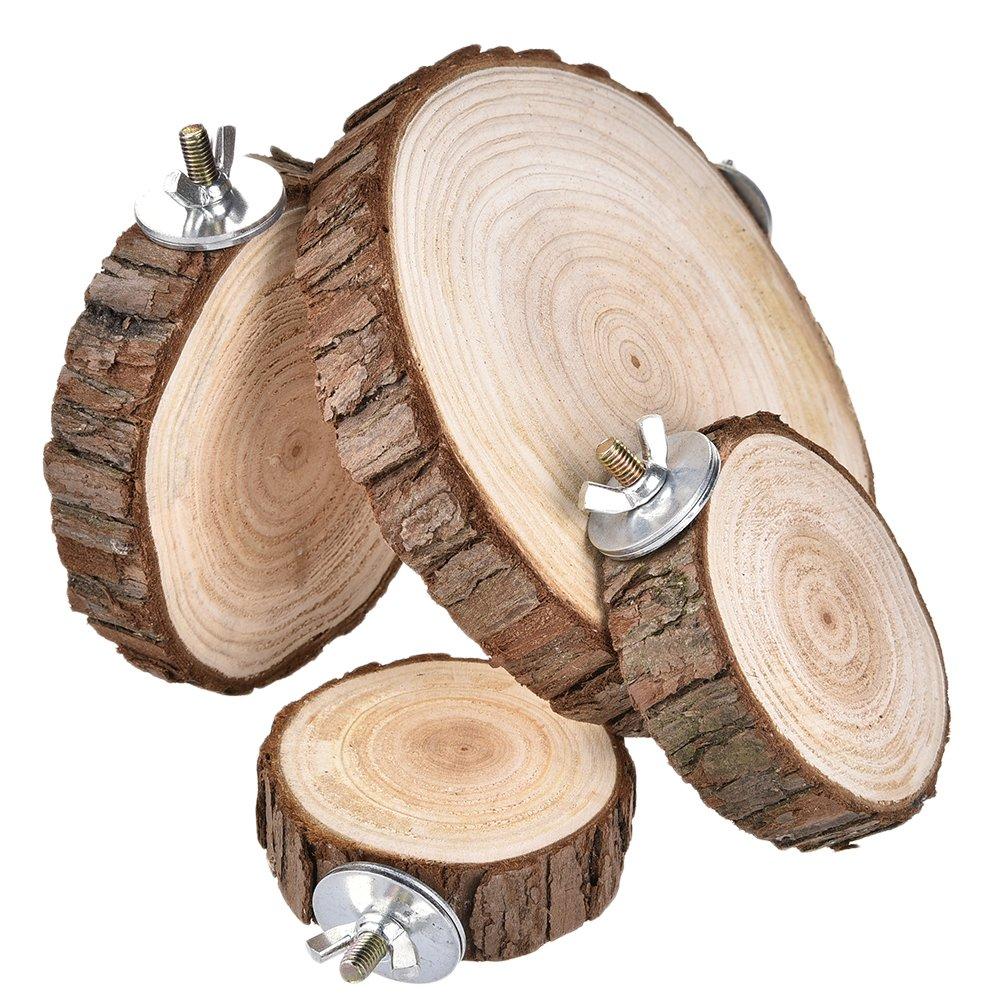 loro con soporte de plataforma para troncos y jaula para mascotas juguetes para ardilla h/ámster cerdo Yunt Percha de madera natural para mascotas peque/ñas cobaya