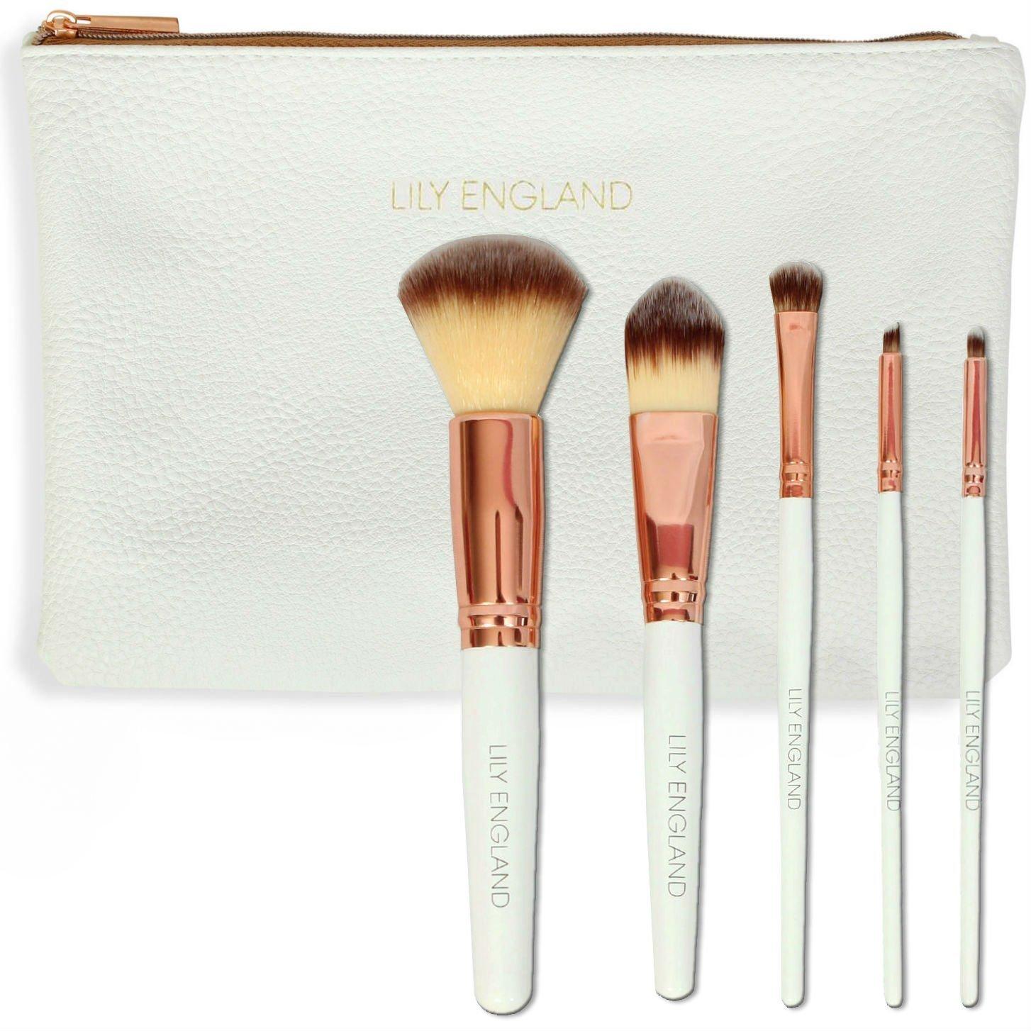 Lily England Rose Gold Makeup Brush Set with 5 Brushes and Makeup Bag