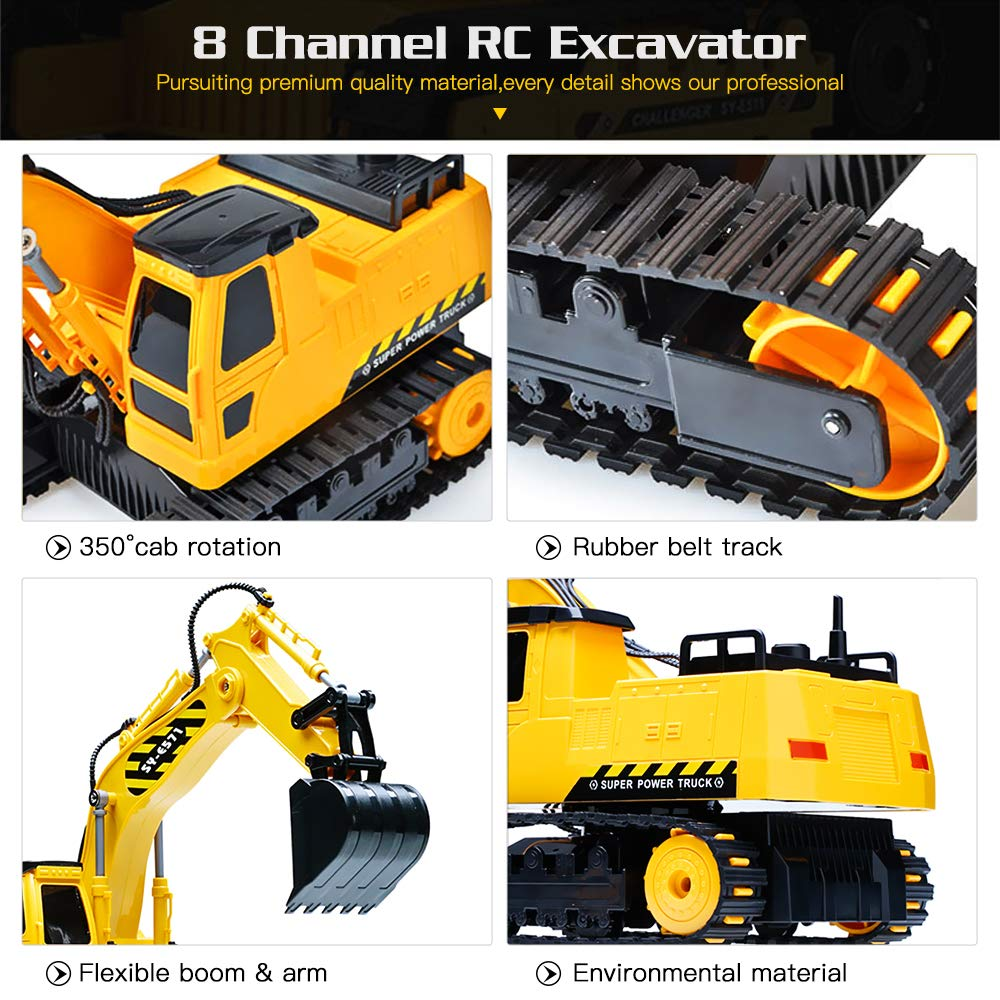 DOUBLE  E Remote Control Excavator Full Functional Construction Tractor, Rechargeable RC Truck Excavator with 2.4Ghz Transmitter by DOUBLE  E (Image #3)