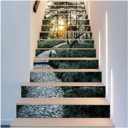 LYLP Calcomanías de Escalera Autoadhesivas 3D Calcomanía de baño de Cocina Mural de Vinilo Calcomanías de Escalera extraíbles 39.3