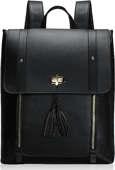 Estarer Women Black Laptop Backpack PU Leather Satchel Rucksack Handbag Large School Bag