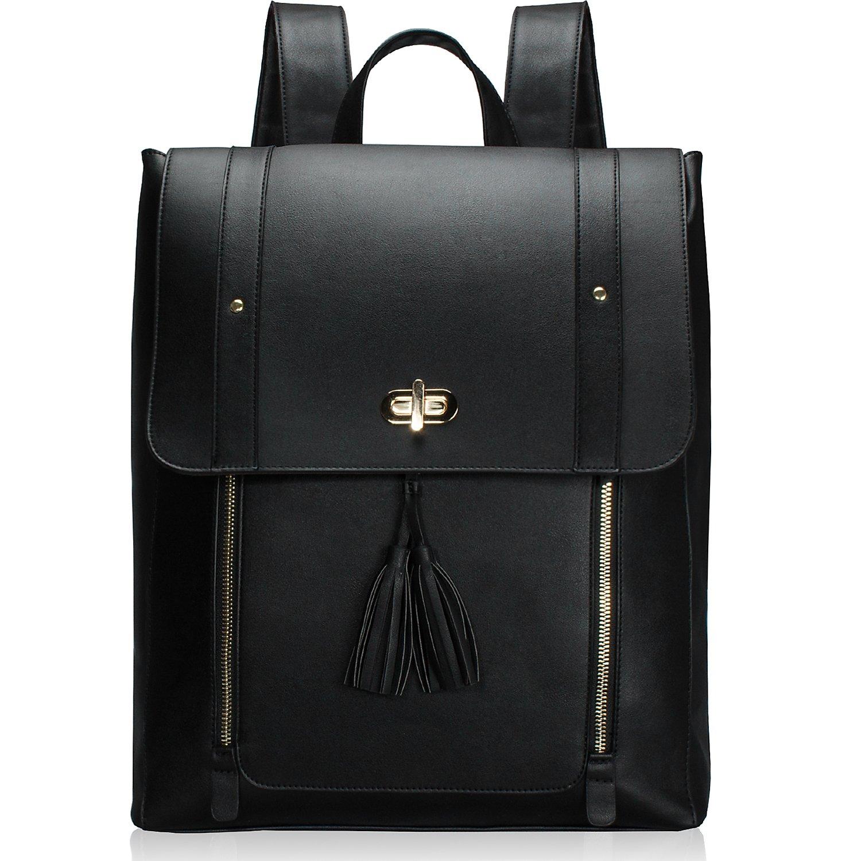 Estarer Upgraded Version Women PU Leather Backpack 15.6inch Laptop Vintage College School Rucksack Bag (black) by ESTARER