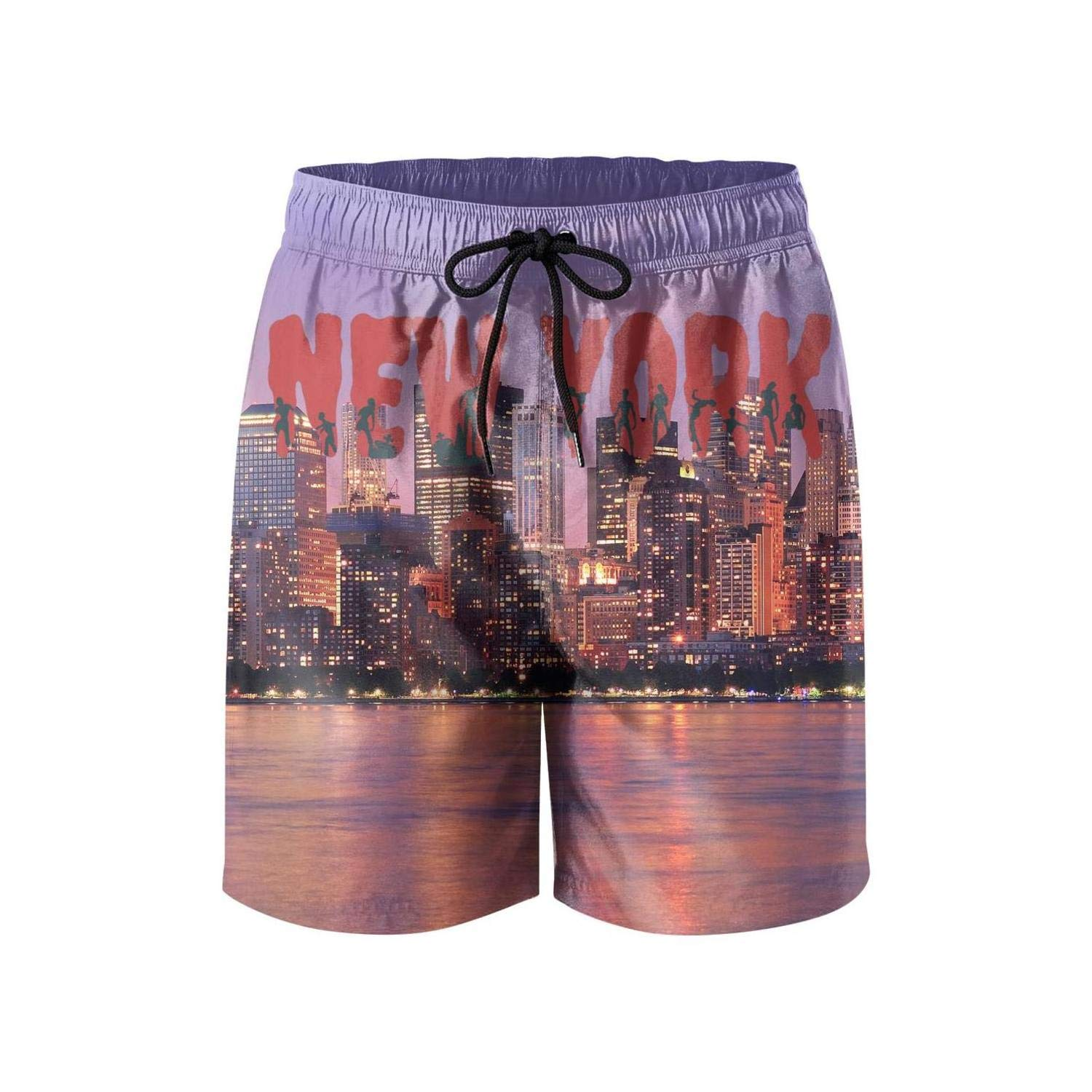 New York City Name and Silhouettes Mens Guys Surfing Shorts Summer Fashion Beach Shorts Swim